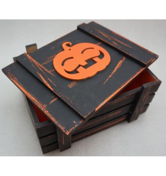 Старинный ящик страха с веселой тыквой оранж-черный