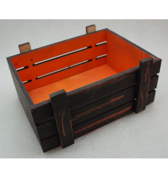 Старинный(потертый )  ящик страха без крышки оранж -черный