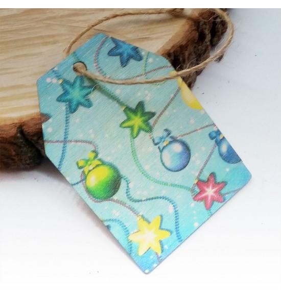 Новогодняя деревянная открытка-шильдик №1