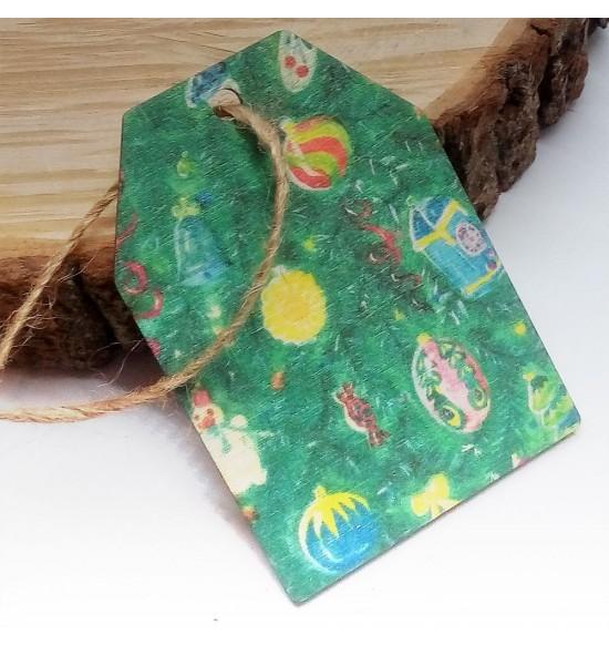 Новогодняя деревянная открытка-шильдик №10