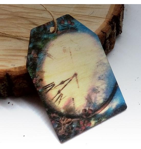 Новогодняя деревянная открытка-шильдик №11