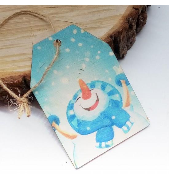 Новогодняя деревянная открытка-шильдик №12