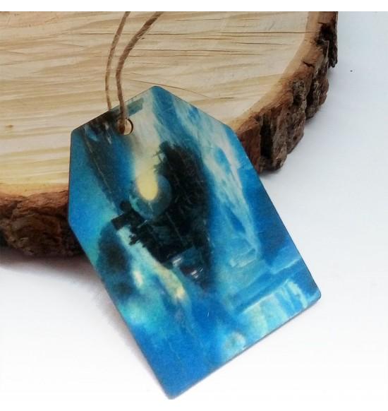 Новогодняя деревянная открытка-шильдик №13