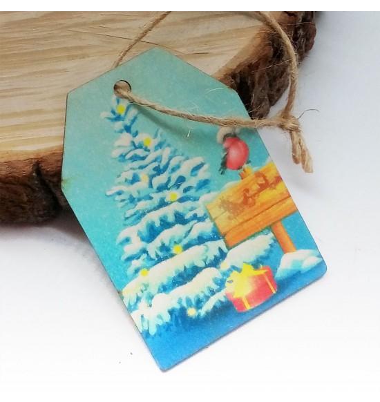 Новогодняя деревянная открытка-шильдик №14
