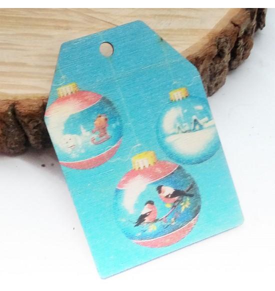 Новогодняя деревянная открытка-шильдик №15