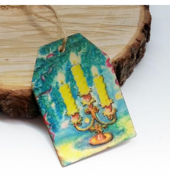 Новогодняя деревянная открытка-шильдик №16