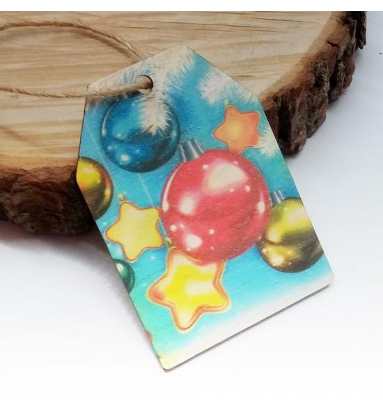 Новогодняя деревянная открытка-шильдик №17