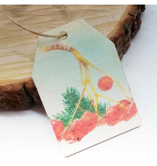 Новогодняя деревянная открытка-шильдик №19
