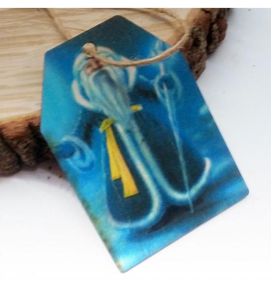 Новогодняя деревянная открытка-шильдик №2