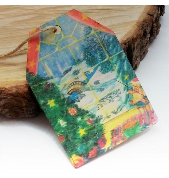 Новогодняя деревянная открытка-шильдик №20