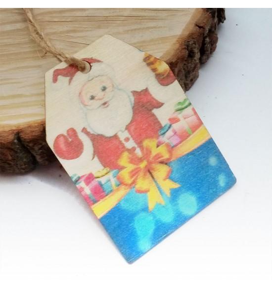 Новогодняя деревянная открытка-шильдик №3