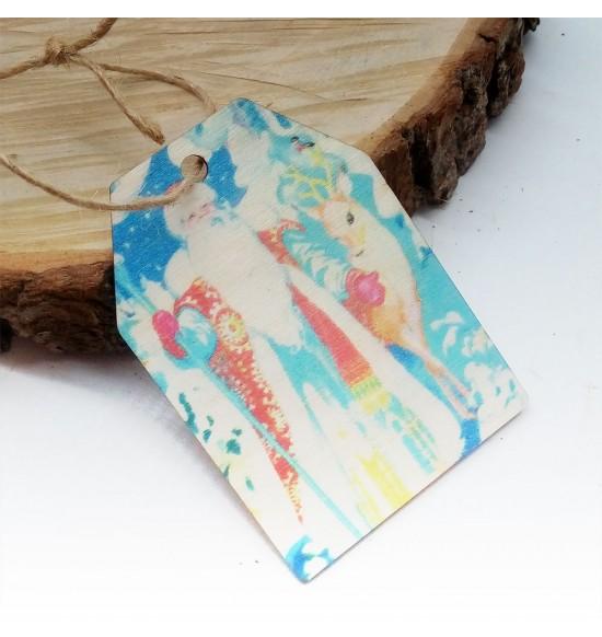 Новогодняя деревянная открытка-шильдик №4