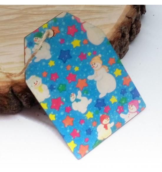 Новогодняя деревянная открытка-шильдик №5
