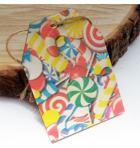 Новогодняя деревянная открытка-шильдик №6