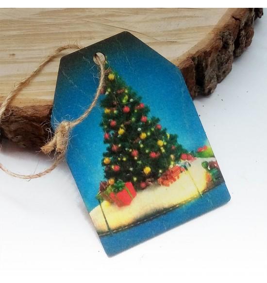 Новогодняя деревянная открытка-шильдик №7