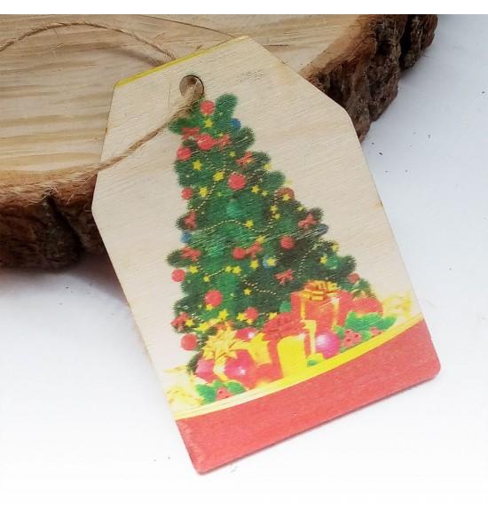 Новогодняя деревянная открытка-шильдик №8