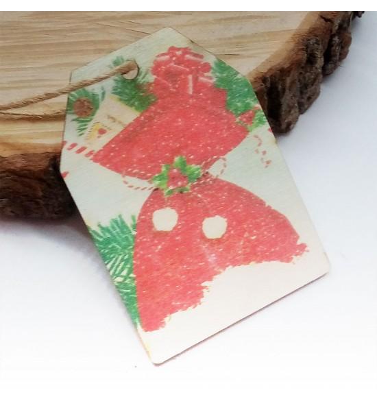 Новогодняя деревянная открытка-шильдик №9