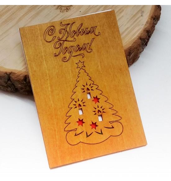 """Деревянная открытка """"Елка"""" - 3"""