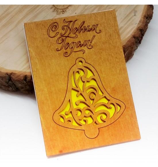 """Деревянная открытка """"Колокольчики"""" - 2"""