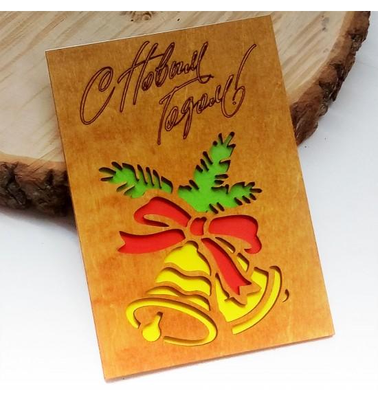 """Деревянная открытка """"Колокольчики"""" - 1"""