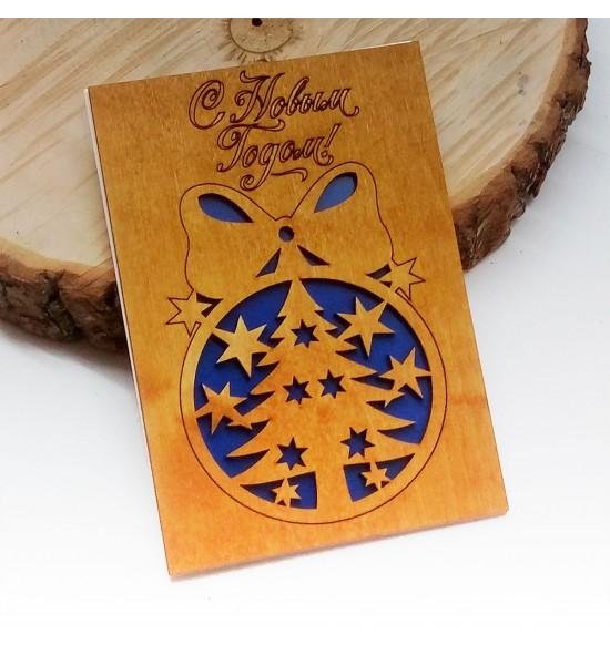 """Деревянная открытка """"шарики """" - 1"""