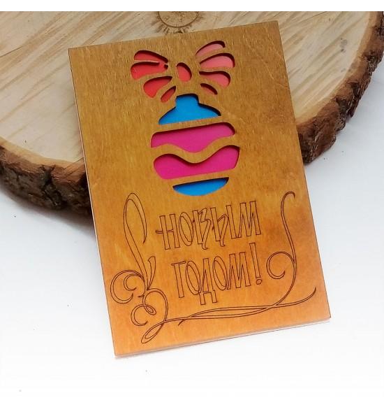 """Деревянная открытка """"шарики """" - 2"""