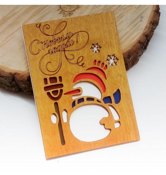 """Деревянная открытка """"снеговик  """" - 1"""