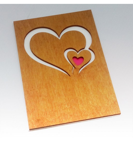 """Деревянная открытка """"Два сердца"""""""