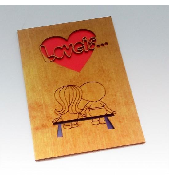 "Деревянная открытка ""Love is"""