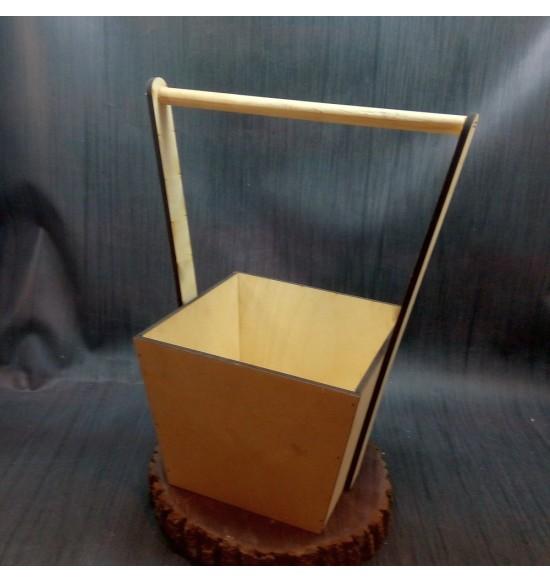 Кашпо квадратное с ручкой