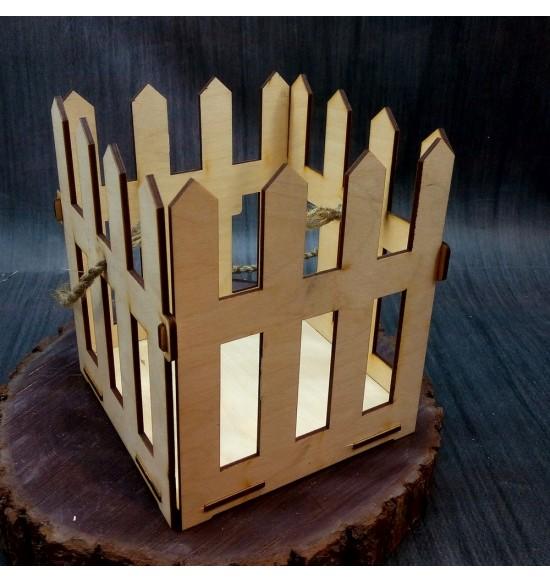 Кашпо из дерева заборчик квадратное