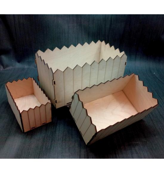 Набор из трех прямоугольных кашпо штакетник