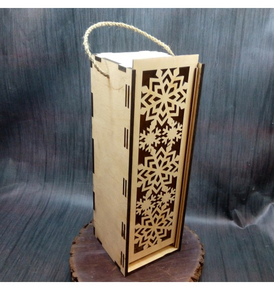 Подарочная коробка для вина на одну бутылку со снежинками