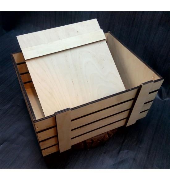 Ящик из фанеры №2 с крышкой, большой, некрашеный