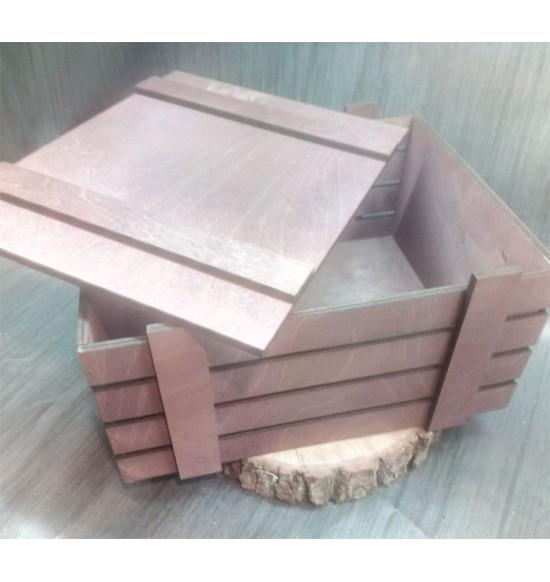 Ящик из фанеры №2 с крышкой, большой, морилка