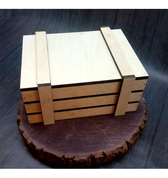 Ящик из фанеры №2 с крышкой, малый, некрашеный
