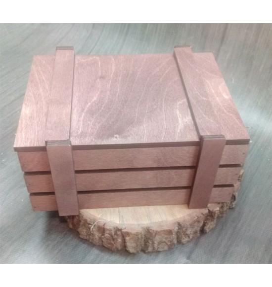 Ящик из фанеры №2 с крышкой, малый, морилка