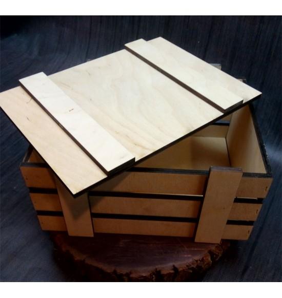 Ящик из фанеры №2 с крышкой, средний, некрашеный