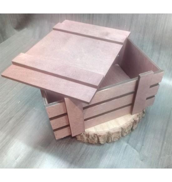 Ящик из фанеры №2 с крышкой, средний, морилка